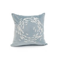 """18"""" Square White Circle of Fish on Blue Pillow"""