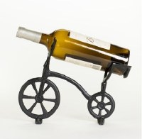 "11"" Black Iron Bike Wine Bottle Holder"