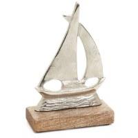 "8"" Silver Metal Sailboat on Wood Base"