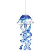 "10"" Blue Glass Swirl Jellyfish Wind Chime"