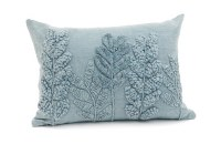 """14"""" x 20"""" Light Blue Acid Washed Embroidered Fronds Pillow"""