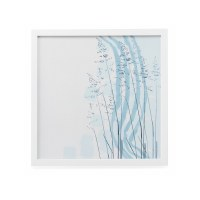 """20"""" Square Light Blue Abstract Flowers I Framed Wall Art"""