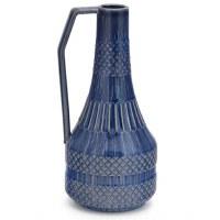"12"" Dark Blue Ceramic Single Handle Textured Pitcher Vase"