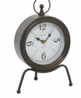"11"" Gold and Black Metal Table Clock With Legs"