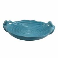 "18"" Blue Cerami Serving Platter With Sea Turtle Handles"