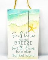 "17"" x 11"" Smell the Sea Sanibel Island Wood Plank Wall Plaque"