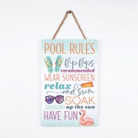 """17"""" x 11"""" Pool Rules Hanging Wall Plaque"""