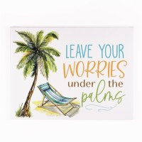 """12"""" x 16"""" Leave Your Worries Palm Canvas Wall Art"""