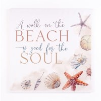 "20"" Square Walk on the Beach Canvas Wall Art"