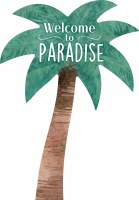 "14"" x 10"" Welcome to Paradise Palm Shaped Wall Plaque"