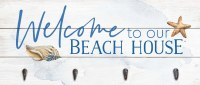 "10"" x 24"" Welcome to Our Beach House Wall Plaque With Four Hooks"