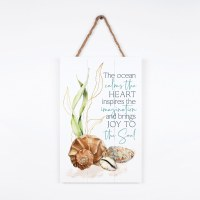 "17"" x 11"" Ocean Calms the Heart Hanging Wall Plaque"