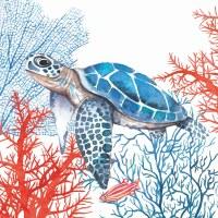 "5"" Square Blue Turtle Sea Fans Beverage Napkin"