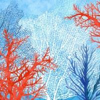 """5"""" Square Blue and Orange Coral Beverage Napkin"""