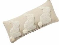 "8"" x 18"" Three Happy Bunnies Hooked Pillow"
