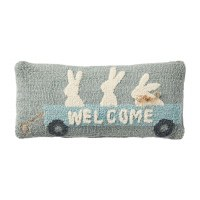 """8"""" x 18"""" Three Bunnies Welcome Wagon Hooked Pillow"""