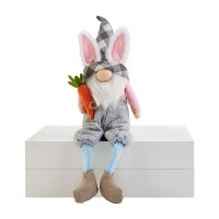 """9"""" Plaid Hat Easter Gnome With Bunny Ears and Carrot"""