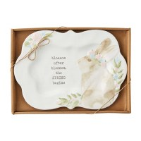 """8"""" x 12"""" Scalloped Watercolor Bunny Spring Platter"""