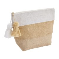 """9"""" x 11"""" Natural and White Color-Block Jute Zip Pouch With Pom Tassels"""