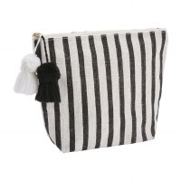 """9"""" x 11"""" Black and White Striped Jute Zip Pouch With Pom Tassels"""