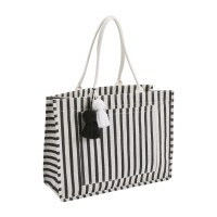 """14"""" x 19"""" Black and White Striped Jute Tote With Pom Tassels"""