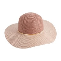 """16"""" Round Blush Color-Block Paper Straw Sun Hat by Mud Pie"""