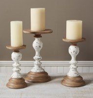 Set of 3 Antique White and Wood Rustic Pillar Candle Holders