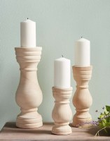 Set of 3 Natural Paulownia Wood Pillar Candle Holders
