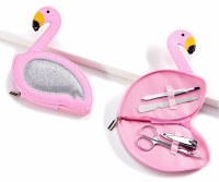 "6"" Silver Wing Pink Flamingo Manicure Set"