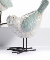"""5"""" Head Down Green and White Bird With Metal Legs"""