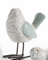 """5"""" Green and White Bird With Metal Legs Looking Left"""