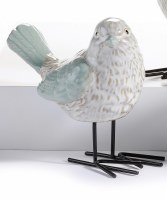 """5"""" Green and White Bird With Metal Legs Looking Right"""