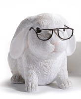 "5"" Head Down White Bunny With Glasses"