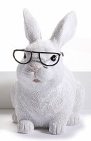 "6"" Sitting White Bunny With Glasses"