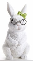 "8"" Standing White Bunny With Glasses and Green Bow"