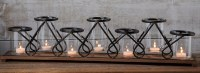"30"" 7-Cup Metal Scroll Candle Holder With Wood Base"
