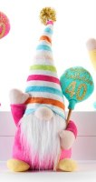 """10"""" Happy 40th Birthday Gnome With Striped Hat"""