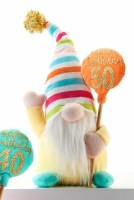"""10"""" Happy 50th Birthday Gnome With Striped Hat"""