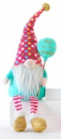 "20"" Birthday Gnome With Pink Polka Dot Hat and Yay Balloon"