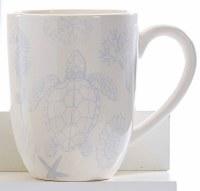 "6"" White Mug With Light Blue Turtles"