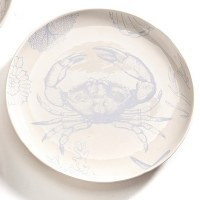 "7"" Round White and Light Blue Crab Plate"