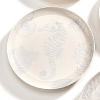 "7"" Round White and Light Blue Seahorse Plate"