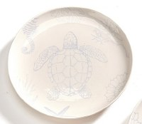"7"" Round White and Light Blue Turtle Plate"