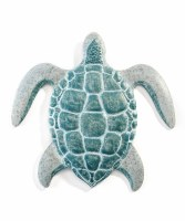 """14"""" Gray and Green Turtle Metal Wall Plaque"""