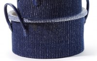 "13"" Round Navy Knit Basket With Handles"