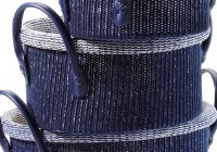 """11"""" Round Navy Knit Basket With Handles"""