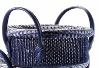 "9"" Round Navy Knit Basket With Handles"