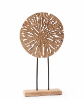 """18"""" Openwork Wood Disc on Stand"""