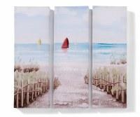 "24"" x 24"" Sailboat Beach Walk Canvas Triptych Wall Art"