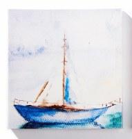 "12"" Square Single Mast Sailboat Canvas Wall Art"